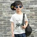 Pioneer crianças moda favor limitado promoção dinossauro meninos tops de verão crianças camisetas 100% algodão pure color pokemon ir t