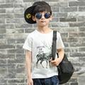 Pioneer niños del favor de la moda promoción limitada dinosaurio niños tops niños camisetas de verano 100% color puro algodón pokemon ir tees