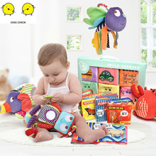 6PCS/BOX 0-36 Months Baby Toys Soft Cloth Books Infant Educational Stroller Rattle  3 Year Old Book Bed