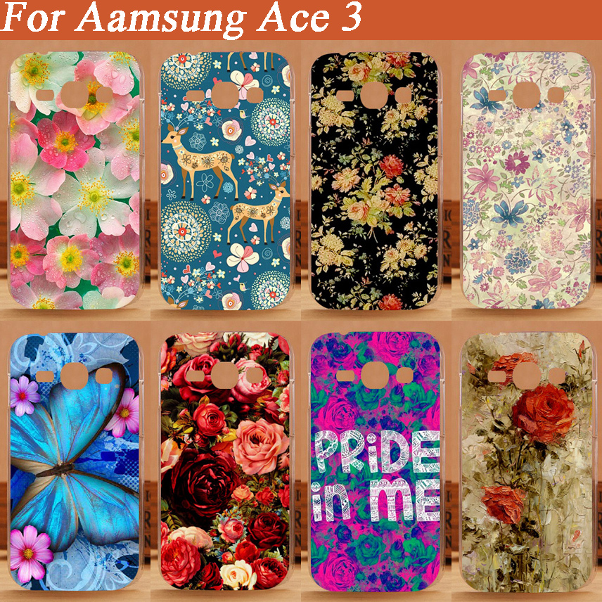1 pics 13 pattern diy beautiful flowers Plastic black case painting case for Samsung ace3 hot sale