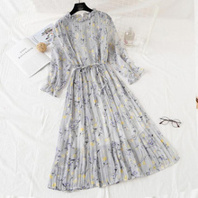cb688a8de4e9d Buy floral print flared sleeve pleated chiffon dress and get free ...