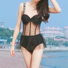 Корейский женский сетчатый сдельный купальник, сексуальная надпись на плечах, юбка Монокини, боди, пуш-ап, купальник, maillot de bain