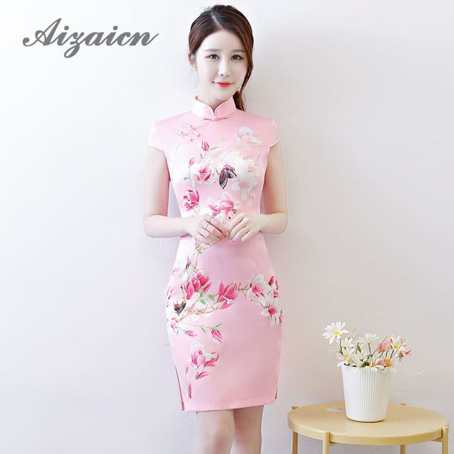 Beautiful Qipao Flower Girl Mini Modern Chinese Dresses Vintage Summer Pink Cheongsam Elegant Dress Women For Wedding Party