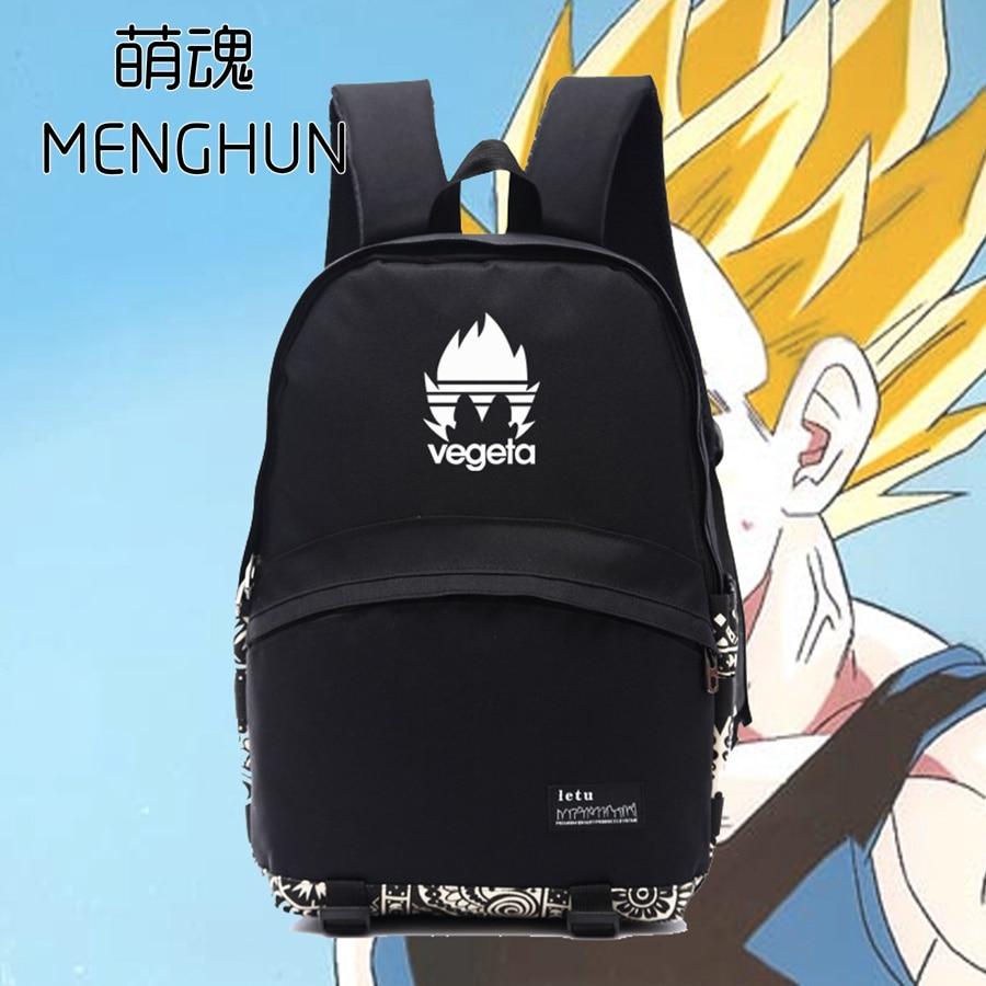 Dragon ball Z new VEGETA cool anime concept dragon ball props black nylon backpacks school bag NB136 4pcs new for ball uff bes m18mg noc80b s04g