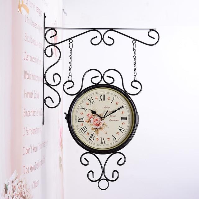 European Style Double Side Mute Wall Clock Large Wall Clock Modern Minimalist for Living Room Clock Mute Quartz Watch