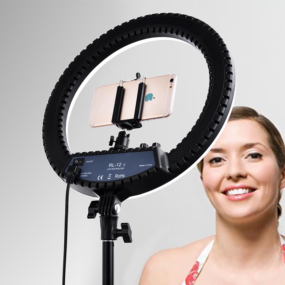 "Image 3 - Fusitu RL 12II 14"" Photography Studio 3200 5600K Led Ring Light With Tripod Stand Light Lamp For Camera Photo Studio Phone Video-in Photographic Lighting from Consumer Electronics"