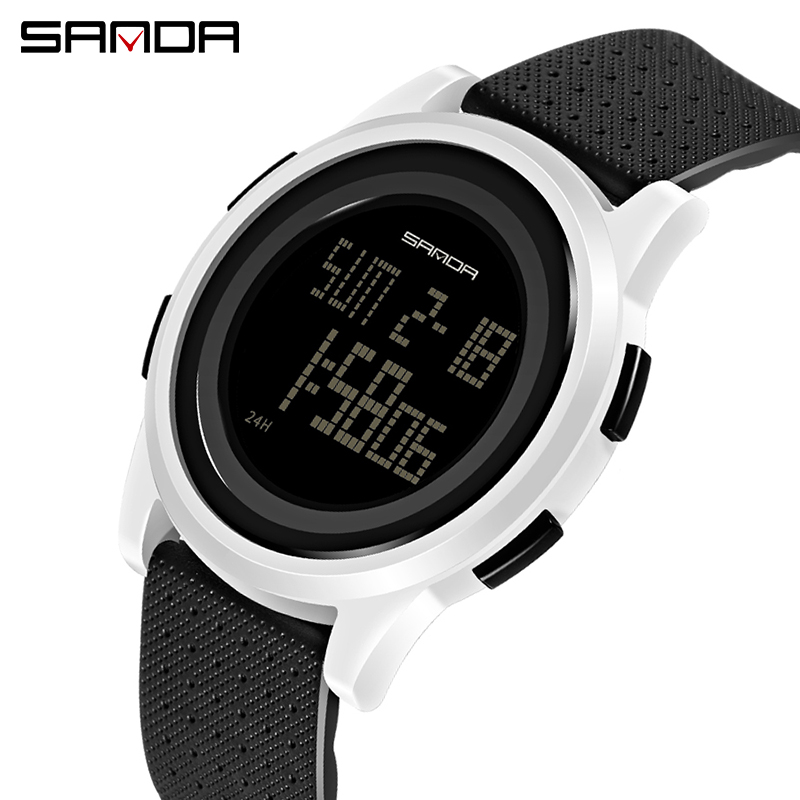 SANDA Fashion Women Sports Watches Waterproof 30m Ladies Ultra Thin LED Digital Watch Swimming Diving Hand Clock Montre Femme
