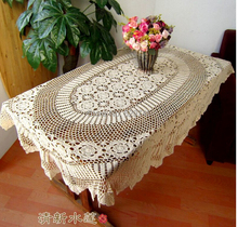 Christmas decorations Handmade Crochet Lace flower Oval Table cloth Vintage hollow Cotton Tablecloth Bed covers Cover cloth