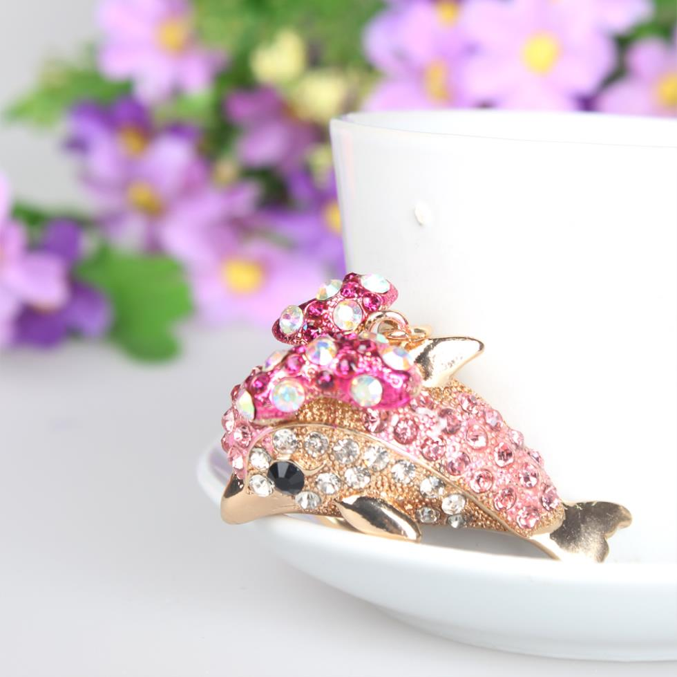 Cute Pink Dolphin Bow Crystal Charm Purse Handbag Car Key Keyring ...
