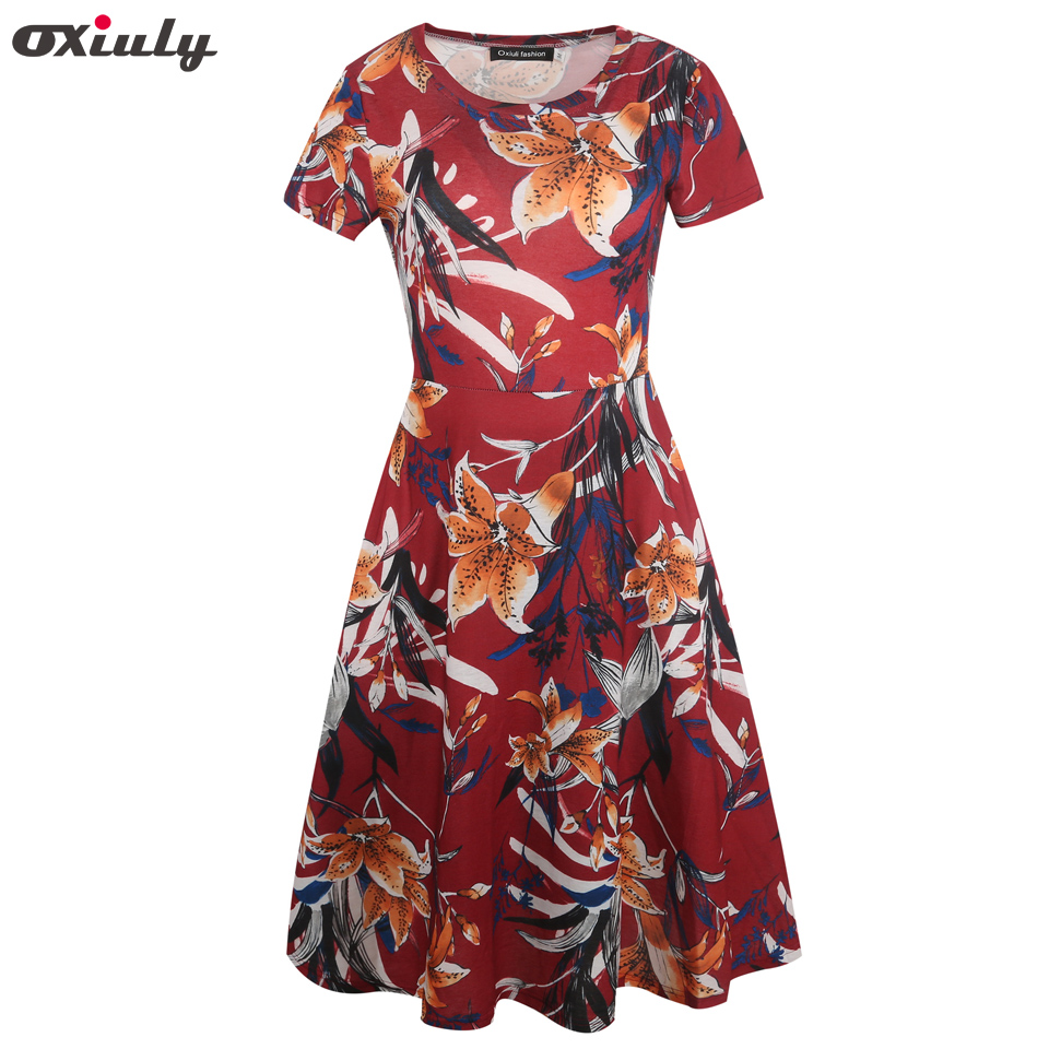Oxiuly New Arrival Women O Neck Multicolor Floral Print A Line Elegant Female Party Vintage Dresses