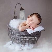 Cesta de hierro ducha bañera novedad recién nacido fotografía accesorios infantil fotografía estudio posando fotografía utilería