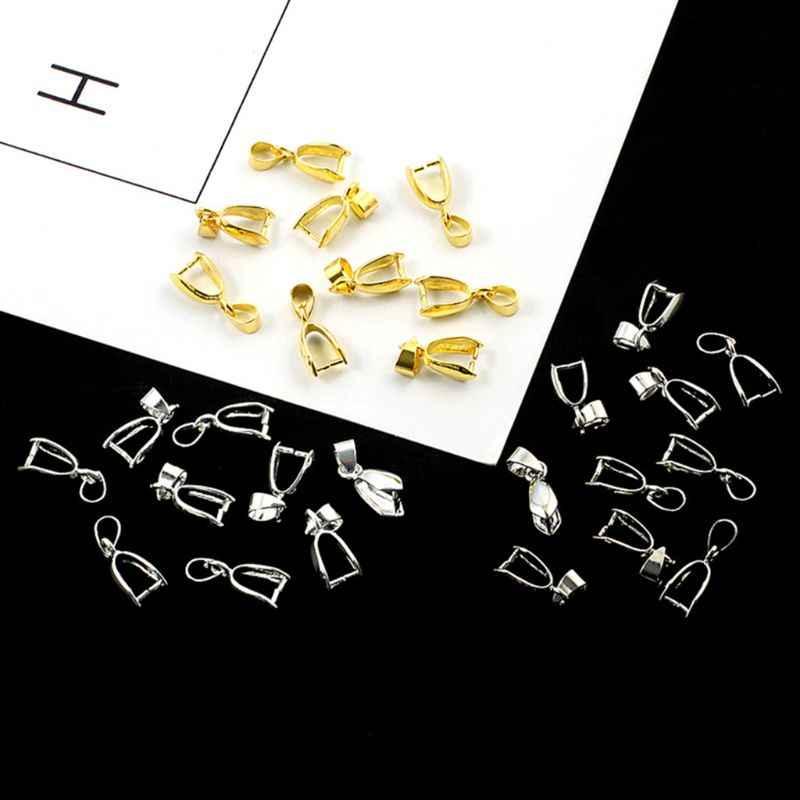 10 個ペンダントバックルジュエリーメイキングネックレスチャームバックル DIY 石用品スナップ合金シルバーゴールドアクセサリー