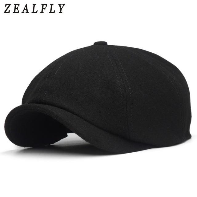 Sólido negro Boinas gorras para hombres de lana boina sombrero gorros  casuales de mujer vendedor lana 154a97800c8