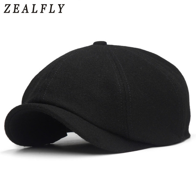Solid Black Berets Caps For Men Wool Beret Hat French Peaked Caps Female  Casual Newsboy Cap 407ed4deed6