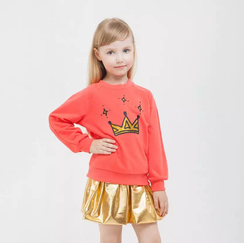 2017 Set Girl Spring New Skirt Suits For Girls Golden Dress + T Shirt Cotton 2pcs Kids Clothes Costume Girls Clothing Sets white cotton shirt white blue red star petal skirt girl outfit set dress my 1st 6th 4th of july costume nb 8y lkpo0037