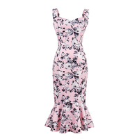 Sisjuly Women S Bodycon Dress Summer Floral Sleeveless Sheath Mid Calf Female Vintage Dress Occasion Sheath