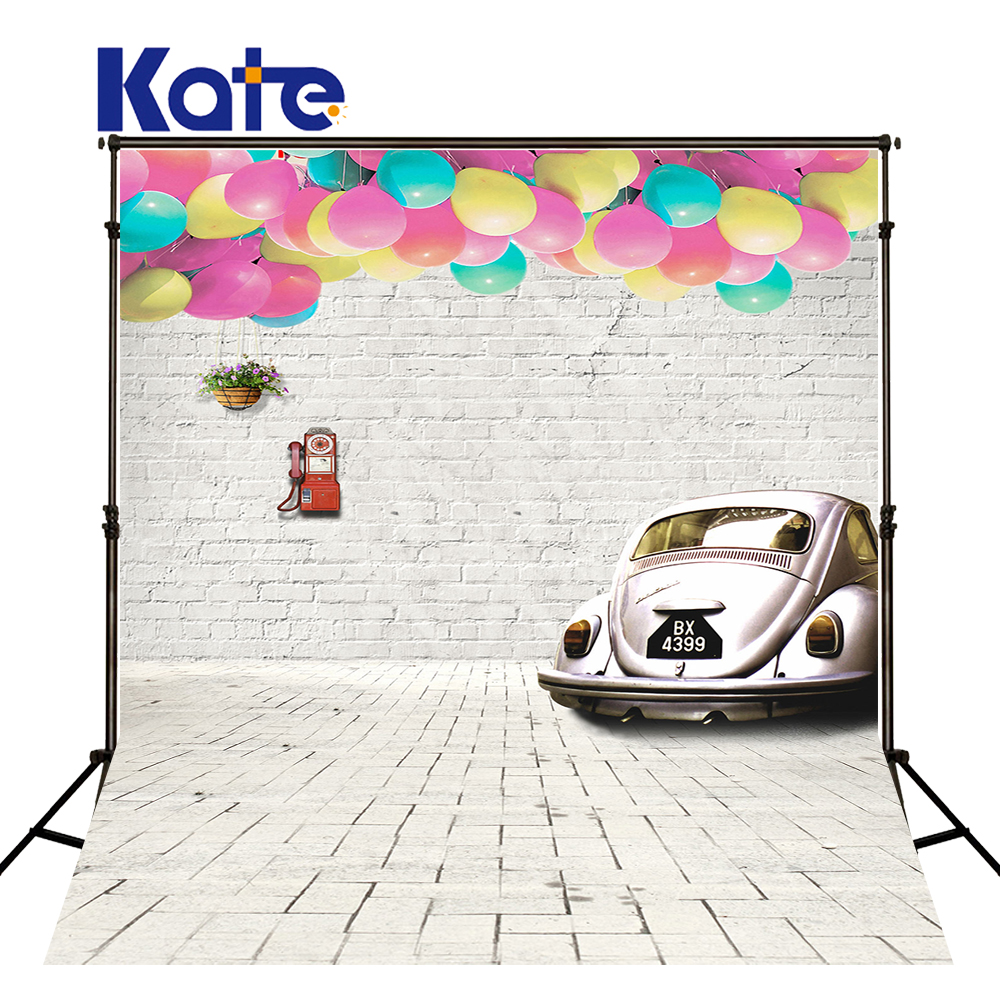 Kate Newborn Baby Backdrops Wood and Brick Wall Backdrop Globos and Car Children Background Fairy Tale World Photo For Studio fairy tale arch printed newborn baby photo backdrops art fabric backdrop for studio children photography backgrounds d 9822