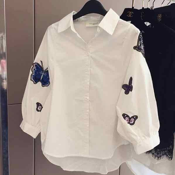 白ブラウス新 2019 春夏長袖蝶刺繍アップリケカジュアルシャツ女性トップス女性服 AF457