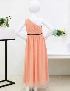 Image 4 - Плиссированные платья с одно плечо и вышивкой для девочек, детские платья для девочек на свадьбу или свадьбу, рождественское бальное платье принцессы