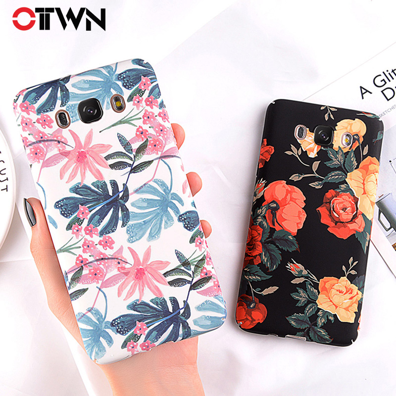 Ottwn Floral Phone <font><b>Case</b></font> For <font><b>Samsung</b></font> Galaxy Note 8 9 S9 S8 S7 Edge Plus A3 <font><b>A5</b></font> A7 J3 J5 J7 <font><b>2016</b></font> 2017 <font><b>Hard</b></font> PC Plastic Cover <font><b>Cases</b></font> image