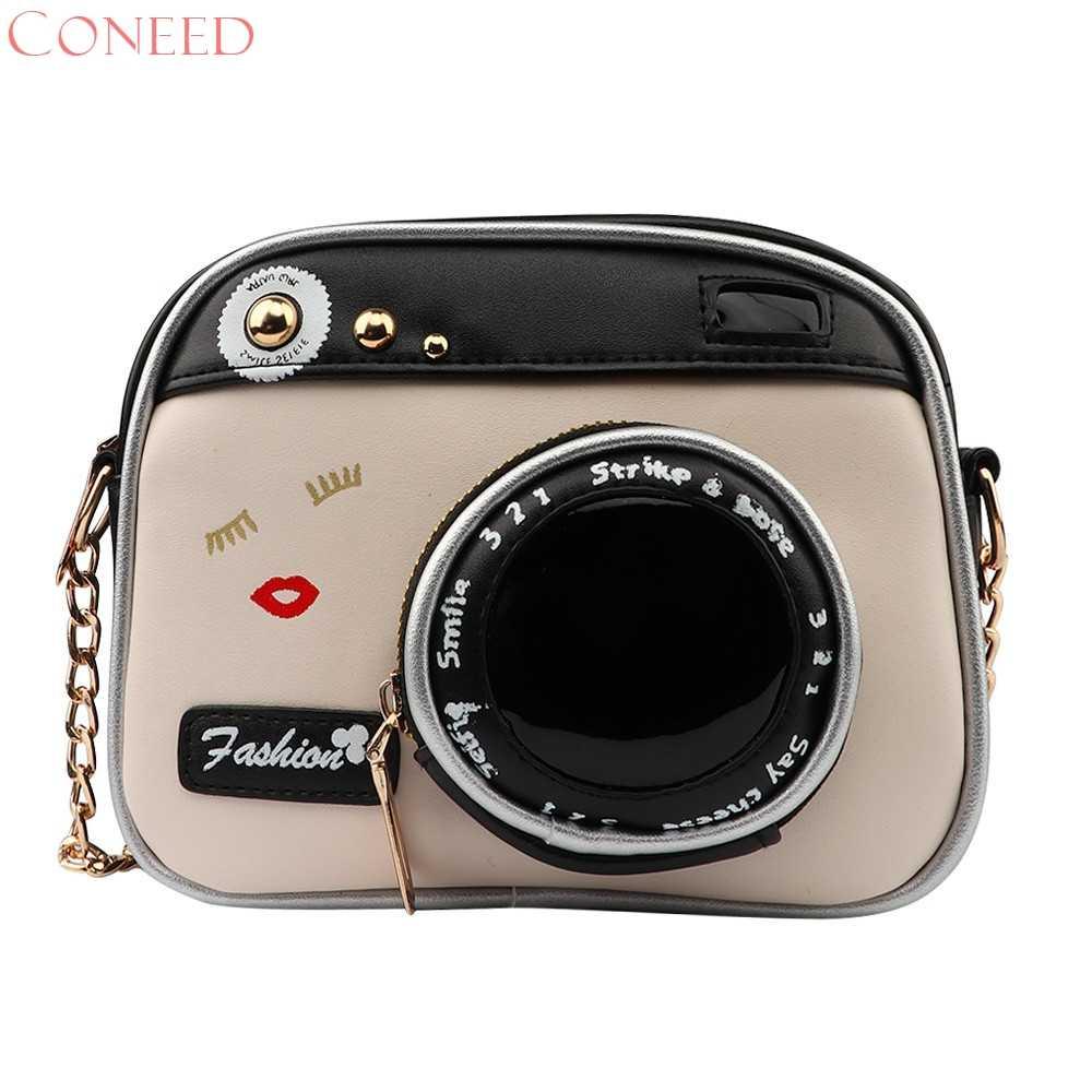ec187e66990a Coneed 2017 девочка винтаж Модные женские камеры сумка женские сумки цепи  посланник женская Кроссбоди мешок D21W30