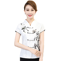 Vintage White Chinese Women Cotton Blouse Handmade Embroidery Shirt Tops Lady Summer Elegant Flower Clothing M