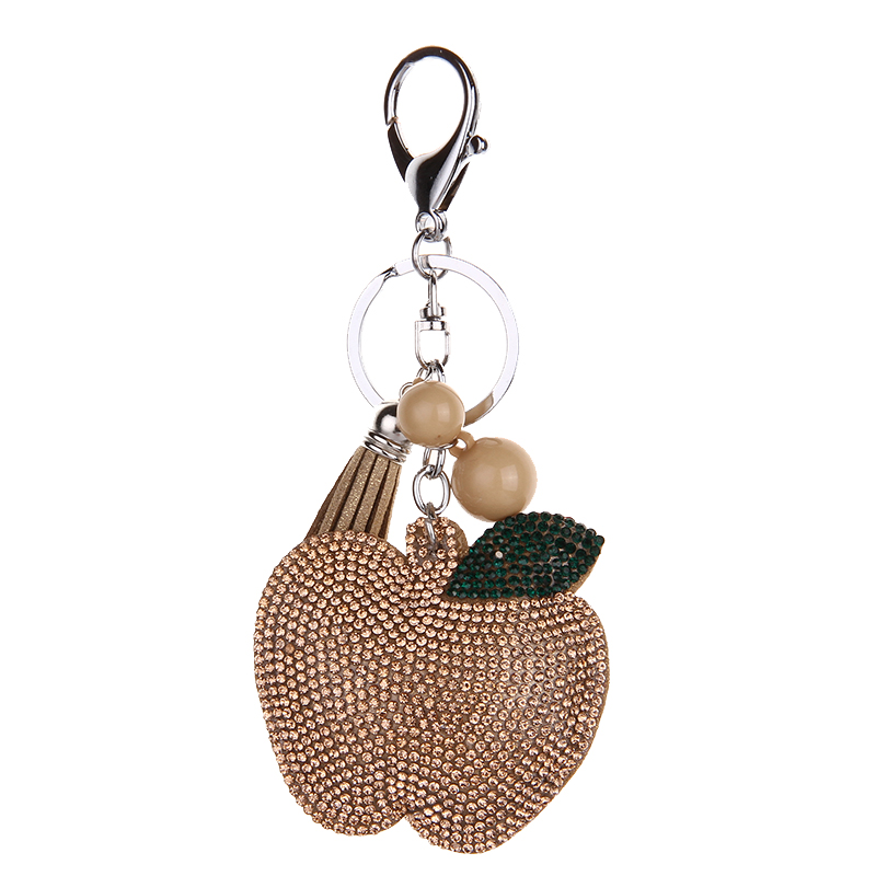 Lovely handbag fashion jewellery key chain Rhine stone Mosaic leather apple llavero gifts wholesale 5 color Free shipping in Key Chains from Jewelry Accessories