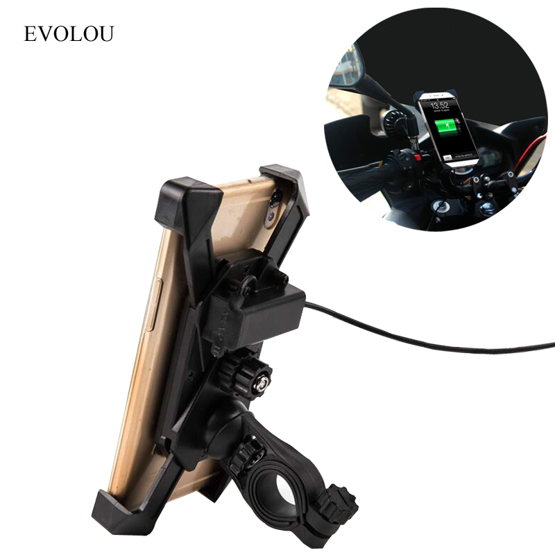 Motorcycle Phone Holder with USB Charger Holder for Samsung S9 S8 iphone 8 plus Smartphone Support for Moto Bicycle Phone Stand