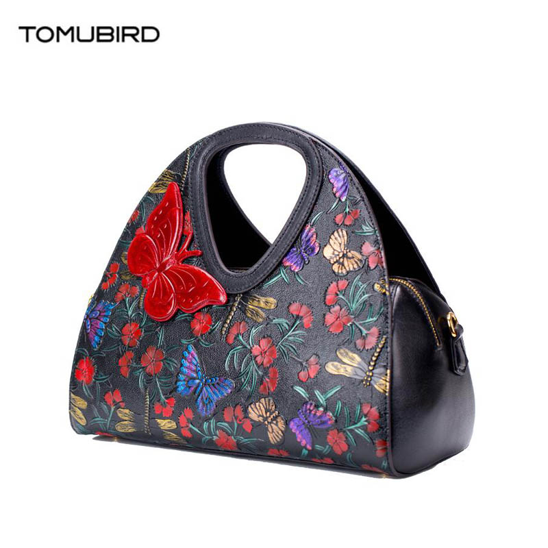 TOMUBIRD 2018 new Cowhide women genuine leather bag Embossing Leather schoudertas dames tote women genuine leather handbags ladylike women s tote bag with solid color and daisy embossing design