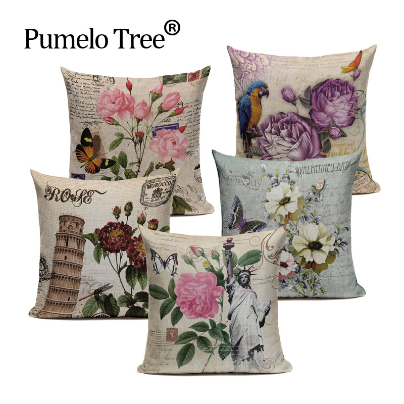 Home Decorative Retro Flower Violet Rural Linen Cotton Throw Chic Style Cushion Cover Pillow Case For Office Chair Custom