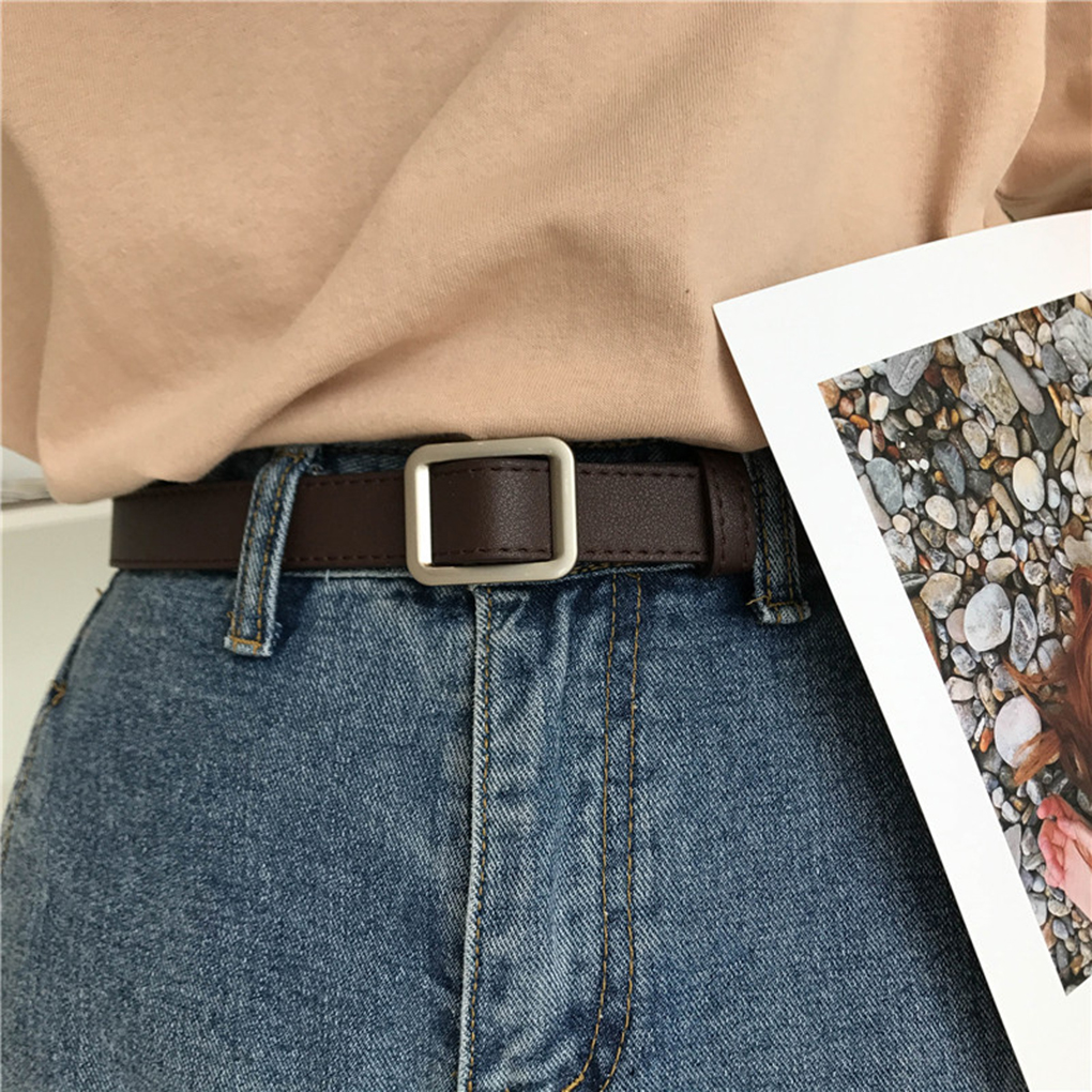 Square Buckle Women Belt Simple Vintage Students Waistband Adjust Fashion Casual No-hole Cummerbunds