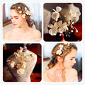 New Handmade Flower Gold Bridal Hair Clip Comb Pearl Wedding Tiara Accessories Women Headpiece