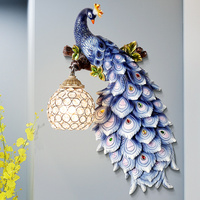 Classic LED Wall Lights Art Bar K9 cristal Blue Peacock Wall Lamps Fixture Resin Wall Sconce For Bedroom Corridor Deco lamp G675