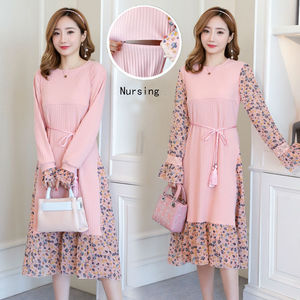Image 1 - 2019 Autumn and Winter Floral Chiffon Knitted Nursing Dress For Pregnant Women Sweater Long sleeve Maternity Breastfeeding Dress