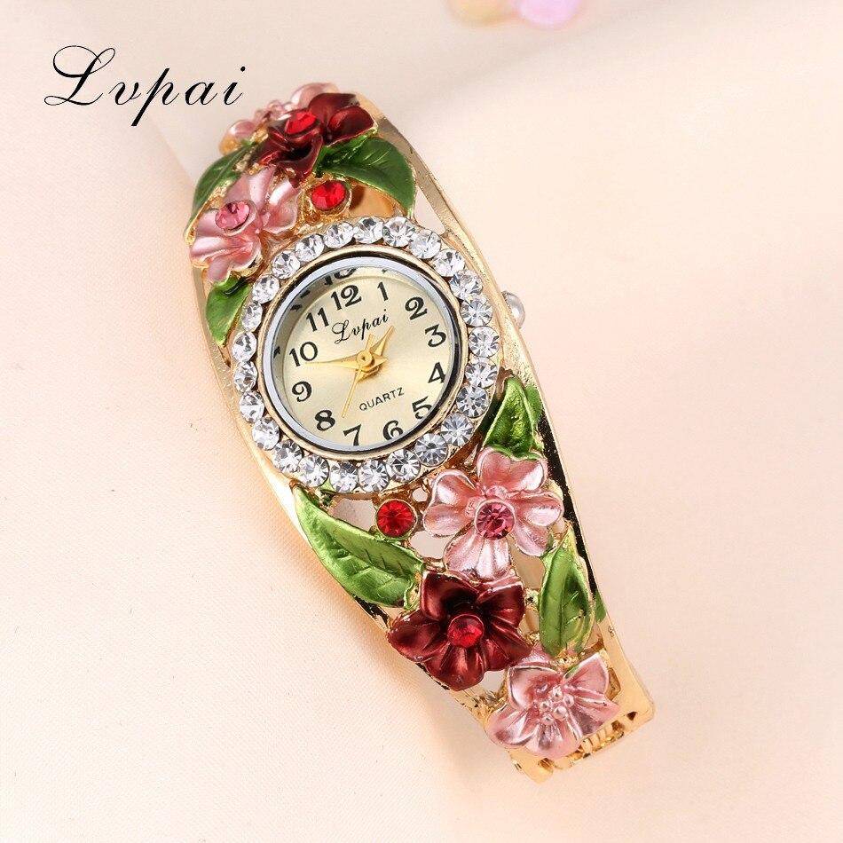 Lvpai Watches 2016 Hot Sale Fashion Casual Women Bracelet Watch Alloy Flowers Diamond Wrist Watches Dress