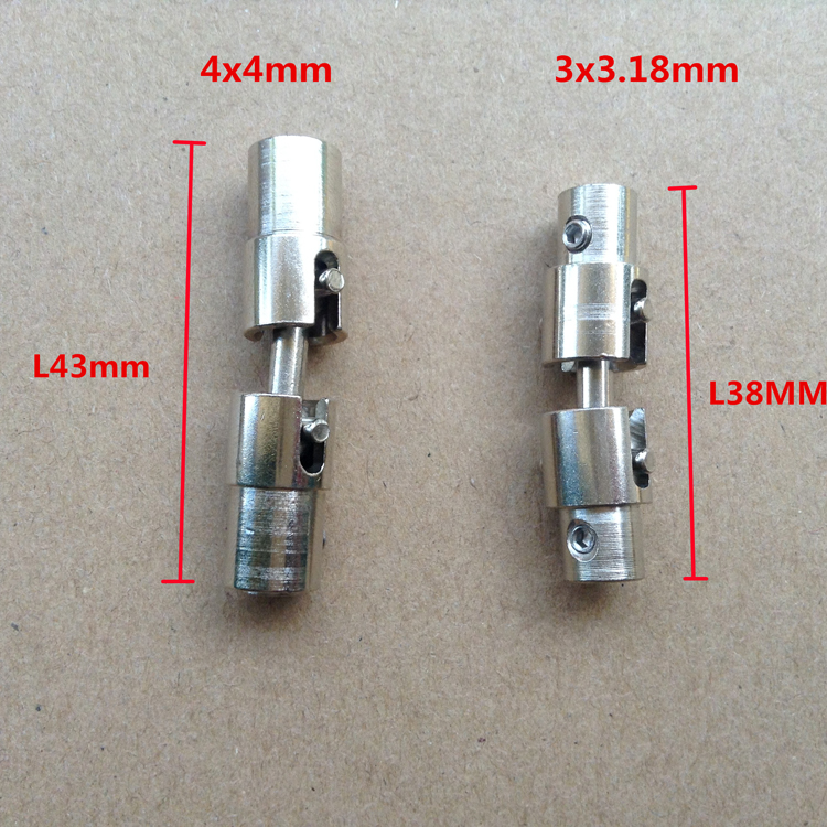 1pc 3x3.18mm/4x4mm Stainless Steel Universal Joint For FT011 FT012 RC Model Boat Shaft Connector Coupling Cardan Joint 15mmx15mm od24mm l88mm double universal joints coupling stainless steel connector crossing shaft coupler rc car boat model parts