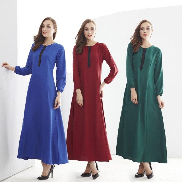 Мода Мусульманин Платье С Длинным Рукавом Арабская Одежда Абая Женщин Abayas Свободные Турецкий Абая Платье Сращивания Элегантные Длинные Платья