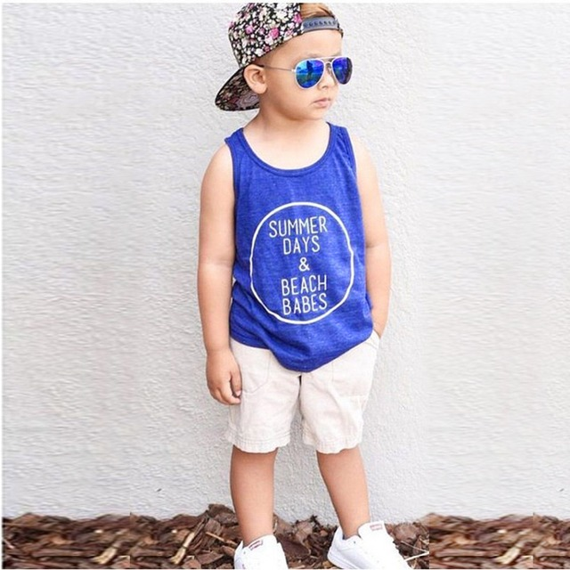 ba986992f12 Hot Sale 2pcs Toddler Kids Baby Boy Vest Letter T-shirt Tops+Beach Causal  Pants Summer Outfits Clothing Set 1-5Years 4