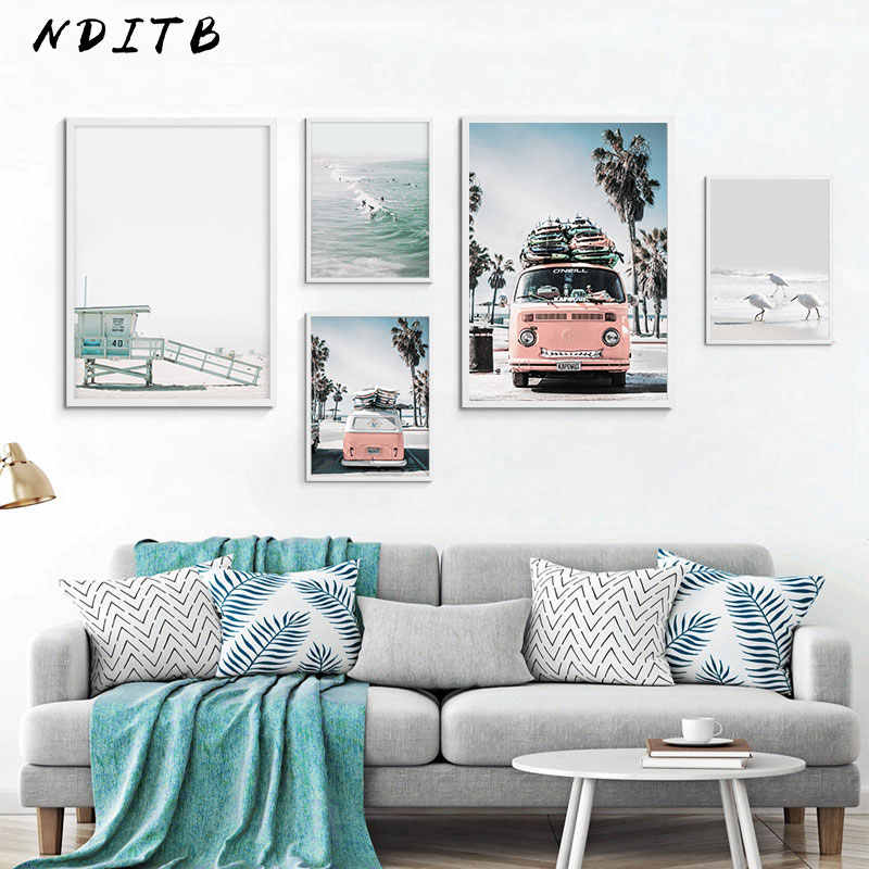 NDITB Scandinavian Tropical Landscape Posters Modern Prints Sea Beach Bus Wall Art Canvas Painting Nordic Decoration Pictures
