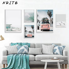 NDITB Scandinavian Tropical Landscape Posters Modern Prints Sea Beach Bus Wall Art Canvas Painting Nordic Decoration Pictures(China)