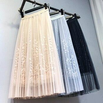 Floral Embroidery A-line Tutu Lace Mesh Skirt Women Elegant Tulle Long Pleated Skirt Women Midi Skirt Summer Hot Sale 5