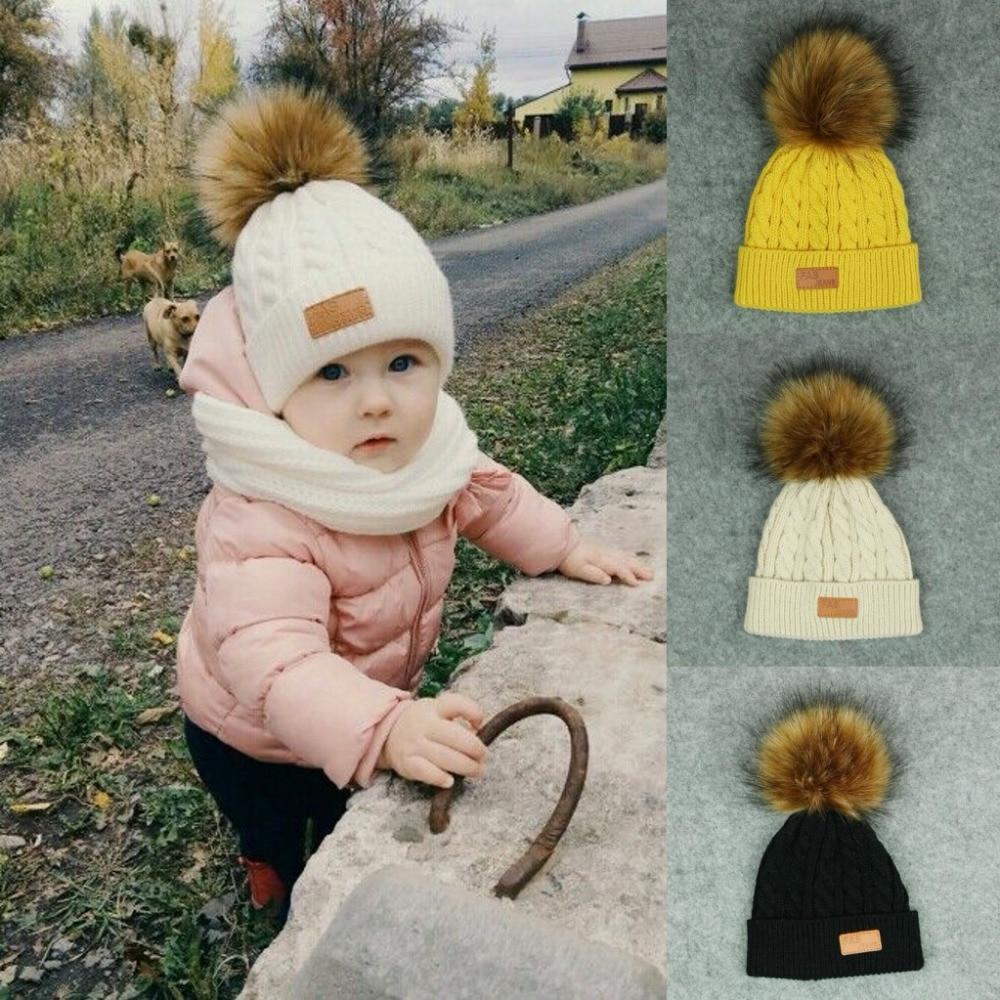 Skullies Beanies For Kids Fur Ball Cap Winter Hats Children Kids Boys Girls Pompom Skullies Beanies For Kids Pompom Hat