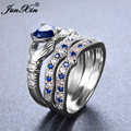 JUNXIN Male Female Claddagh Heart Ring 925 Sterling Silver Blue Ring Set Promise Engagement Rings For Men And Women