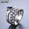 Junxin hombre mujer claddagh anillo de corazón plata de ley 925 azul set anillo de compromiso promesa anillos para hombres y mujeres