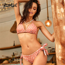 32ecc77344afe Romwe Sport Pink Sexy Bikinis Set Polka Dot Triangle Halter Top With Knot  Tie Side Bottoms Swimwear Summer Women Beach Swimsuit