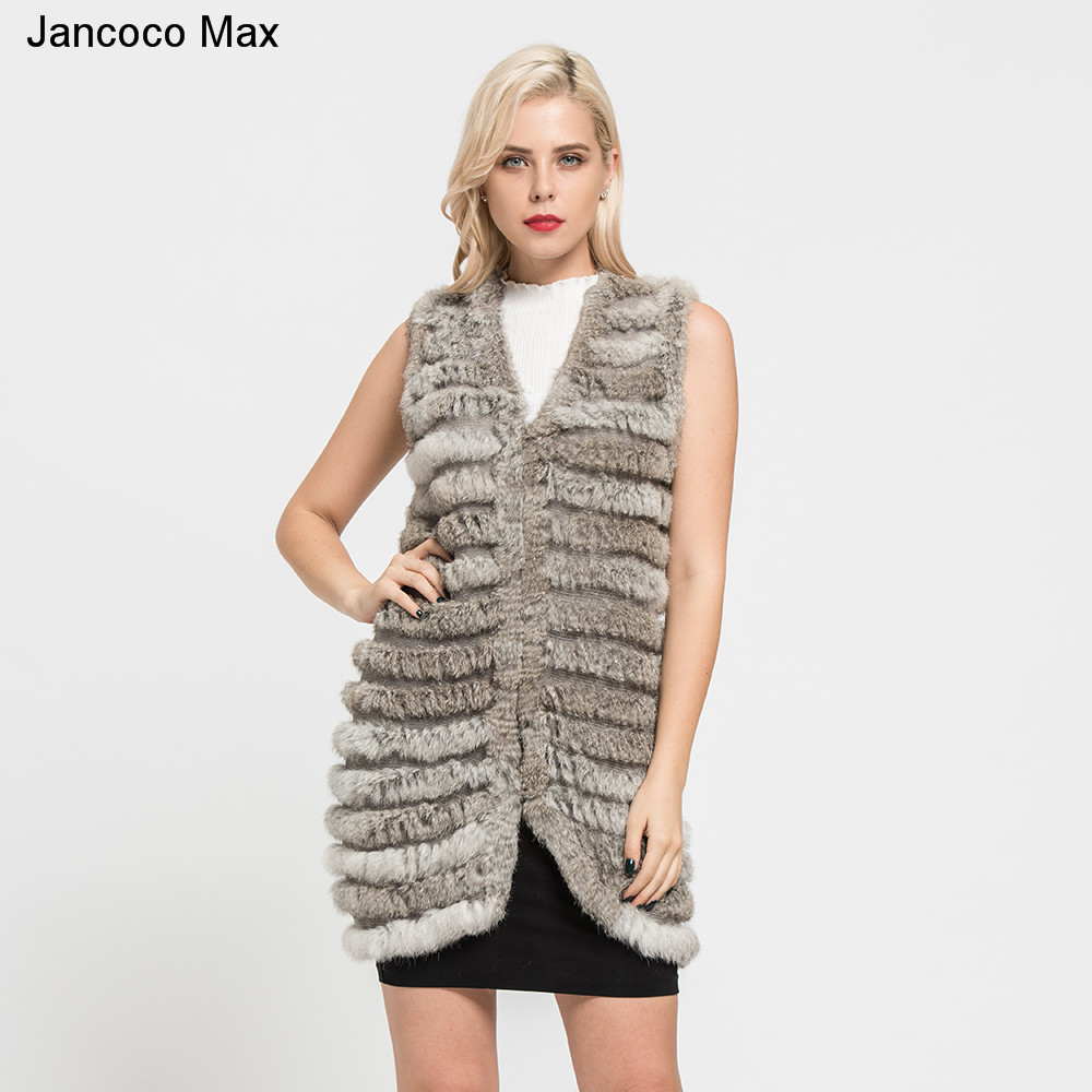 Jancoco Max 2019 New Women s Knitted Rabbit Fur Long Vest Fashion Style Real Fur Waistcoat