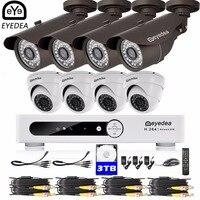 Эйедея 16 каналов удаленного доступа DVR 2.0MP 5500TVL CMOS пуля Купол Открытый ночного видения видеонаблюдения системы безопасности камера 3 ТБ