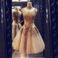 Honorable Cuello Alto de Encaje de Oro Vestido de Fiesta Corto Vestido De Festa Barato Fiesta Elegante Vestido de Noche 2015 Robe De Soirée
