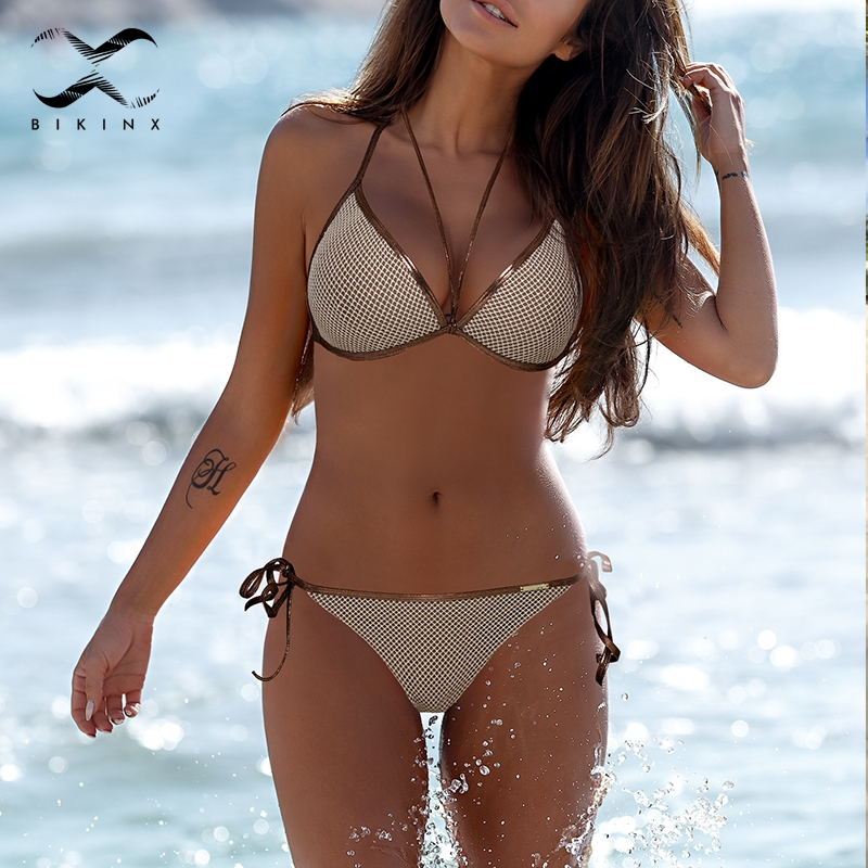 Bikinx Push up bikini 2018 Mesh solid swimsuit female Sexy halter top Tie up thong bottom swimwear women banthing suit Bathers halter tie side graphic bikini set