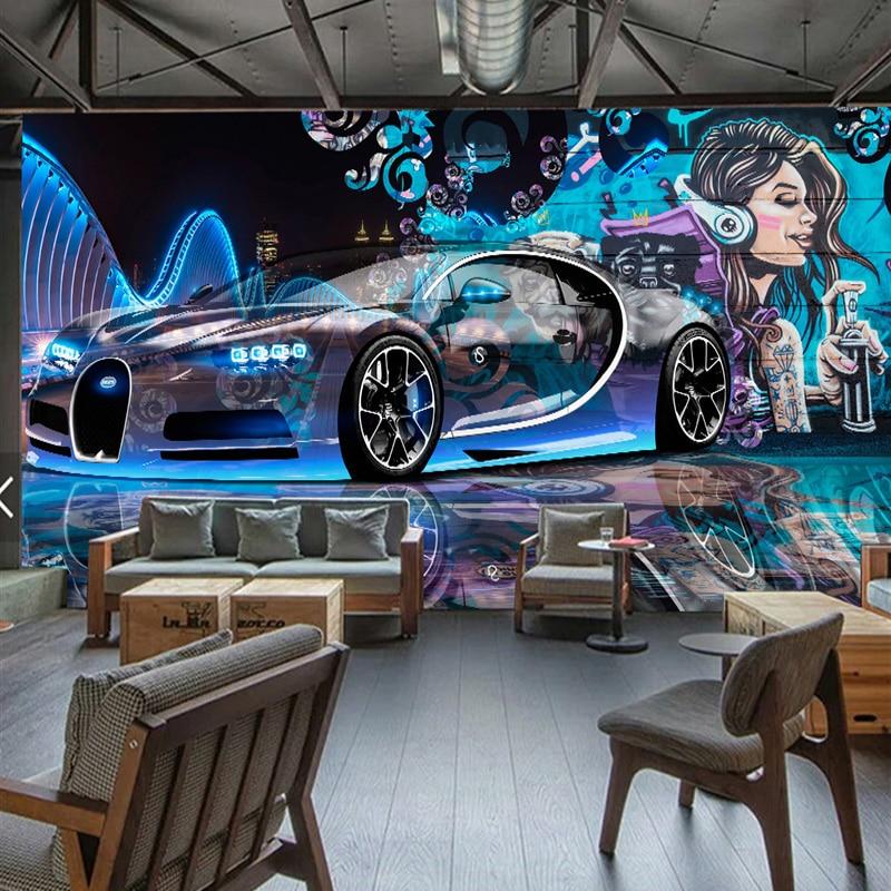 Modern Creative Street Graffiti Sports Car Photo Wallpaper Restaurant Clubs KTV Bar 3D Wall Mural Wall Paper Papier Peint Enfant